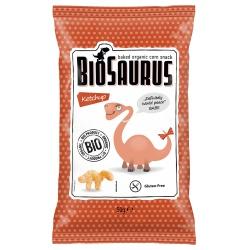 Mais-Snacks BioSaurus mit Ketchup