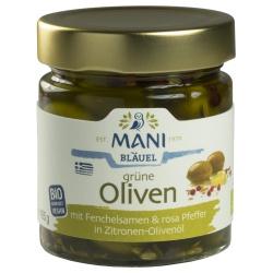 Grüne Oliven mit Fenchelsamen & rosa Pfeffer in Zitronen-Olivenöl
