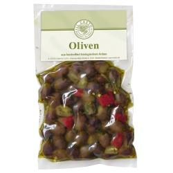 Schwarze Leccino-Oliven mit Stein in scharfer Kräutermarinade