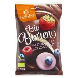 Beeren-Mix in dreierlei Schokolade