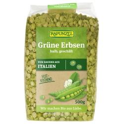 Grüne Erbsen, halb, geschält